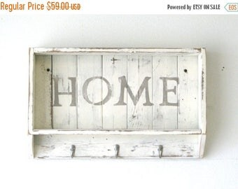SALE Home Shelf, Entry Way Storage Shelf, Multi-purpose Shelf in Distressed White