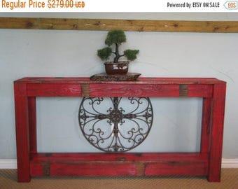 SALE Rustic Sofa Table in Farmhouse Red