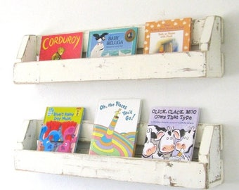 Sale Set of TWO Distressed Shelves for books, magazines and more! White and other colors available!