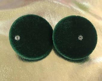 Large green velvet studs