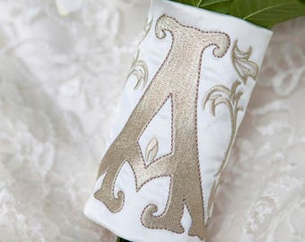 Custom Monogram Bridal Bouquet Wrap ~ Dana Monogram