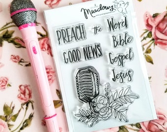 Preach The Word Mini Stamps Christian Scrapbooking Stamping Bible Journaling Good News Gospel Jesus Microphone Growing Meadows Tai Bender
