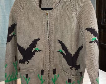 Cowichan small Alaskan hand knit sweater with flying geese