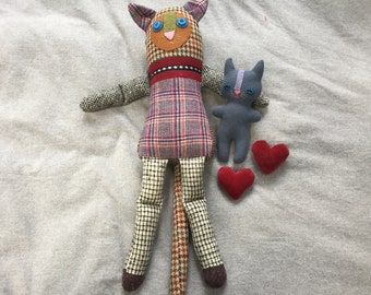 Handmade mother cat and kitty