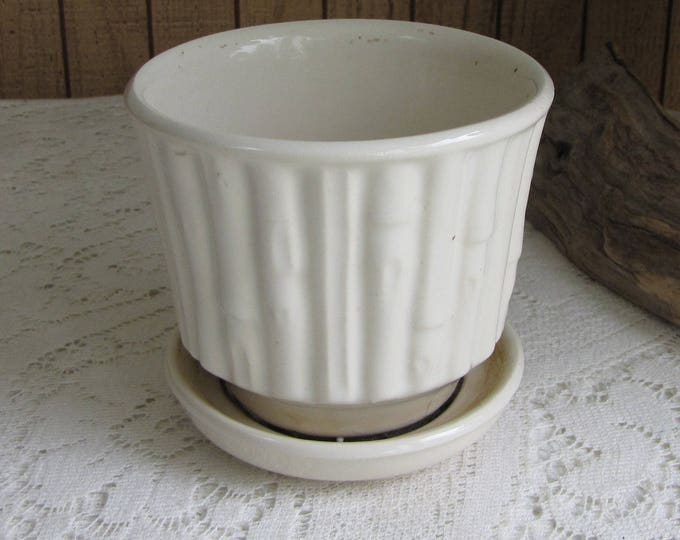 White McCoy Pottery Planter Bamboo with Underplate Vintage Planters and Pots Plants and Succulents