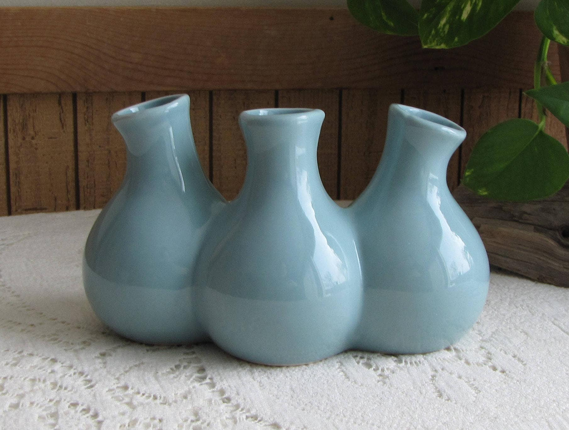 Blue tripled pots pottery vase vintage florist ware and home dcor blue tripled pots pottery vase vintage florist ware and home dcor flower and bud vases reviewsmspy