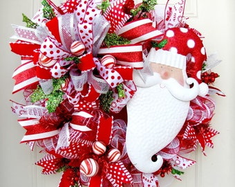 Santa Christmas Mesh Wreath- Christmas Mesh Wreath- Santa Mesh Wreath- Santa Christmas Wreath- Christmas Front Door Wreath