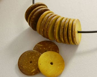 coconut disks,coco shell,coco nut,coco nut coins,large beads,coconut wheels,disk beads,yellow beads,coco nut,organic,natural,colourful beads