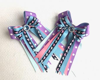 Pony Girl Horse Show Hair Bows/Purple, blue bling & ponies/equestrian hair accessory
