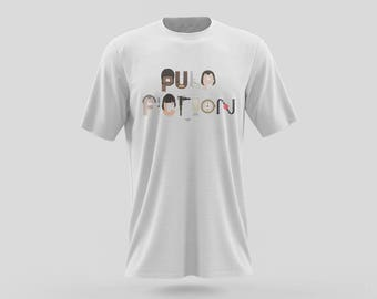 "Pulp Fiction T-Shirt Design of icons from a pop culture iconic film directed by Quentin Tarantino in LA, to spell ""Pulp Fiction"""