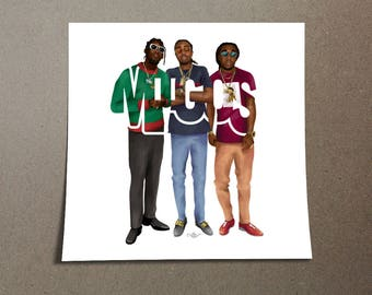 "Migos Sticker Typography Design of Rappers from Georgia with their name ""MIGOS,"" Rappers Home Wall Decor From Georgia Poster"