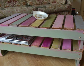 LAST ONE ! Reclaimed Wood Coffee Table in a Boatwood Style Finish Sunset Inspired Colour Scheme with Undershelf Storage & Decorative Tacks