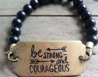 Be Strong and Courageous Beaded Bracelet