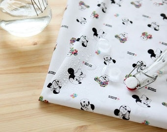 Laminated Disney Mini Mouse with Flower Cotton Fabric by Yard