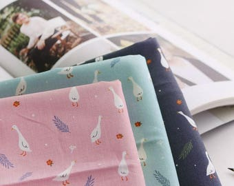 Little Goose Pattern Cotton Fabric by Yard - 3 Colors Selection