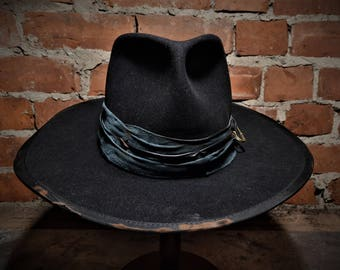 Unique extra wide brim fur felt fedora hat. The Conspirator.
