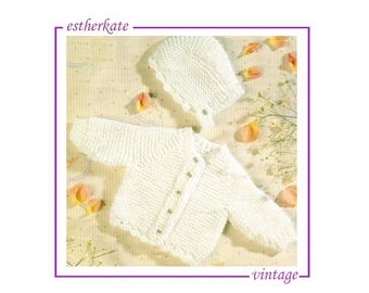 VINTAGE knitting pattern pdf, baby layette, low birth weight and newborn babies, 3 - 12 pounds, INSTANT DOWNLOAD