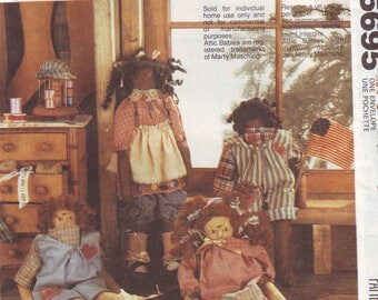 "Vintage UNCUT ""Attic Babies"" Cloth Dolls Pattern by McCall's. 1991"