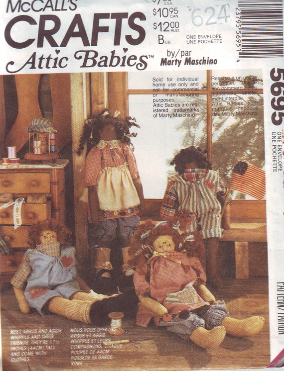 Vintage Uncut Attic Babies Cloth Dolls Pattern By