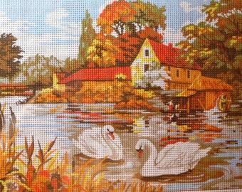 Needlepoint tapestry kit, SWANS, 40 x 30 cm, T112