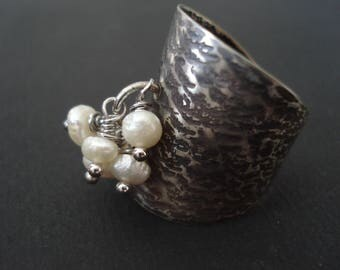 Multistone Real Pearls Hammered Silver Ring Adjustable Cuff Modern Oxidized Ring Silver & White Pearls Band Ring