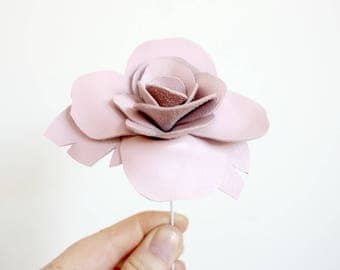 3rd anniversary handmade leather rose - 3rd anniversary gift / anniversary flowers / single stem flower / interior decoration
