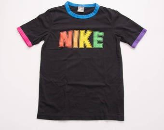 Vintage Nike 90s Spellout Rainbow Tshirt