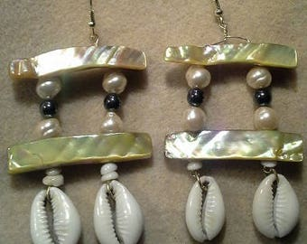 Handcrafted Cowrie Shell Mother of Pearl Shell Earrings