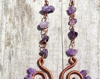 ON SALE Amethyst Sunburst Earrings * Copper Spirals * Super-long Earrings * Gemstone Jewelry * Healing Crystals * Earthy * Boho * Festival J