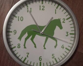 clock wall decor green horse