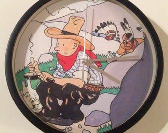 clock wall decorative cowboy tintin