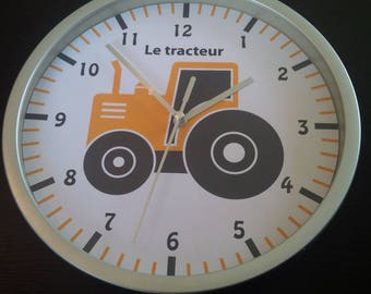 wall clock yellow tractor pattern