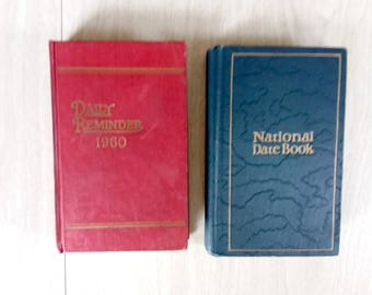 Vintage 1960 and 1944 Diaries/Journals/Blank Books in Blue and in Red.  Daily Reminder