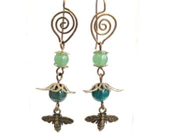 Fairytale Forest Fantasy Floral Earrings in Green Renaissance #1475