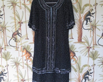 Vintage black beaded and sequin embellished dress 20s style