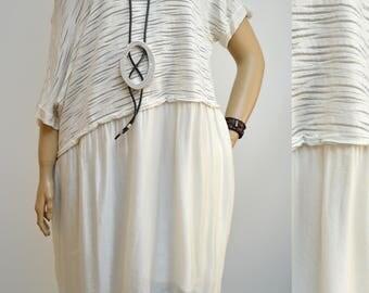 42 44 46 48 / 14 16 18 20 Italian Boutique Silk Lagenlook Tunic Dress Elegant Quality