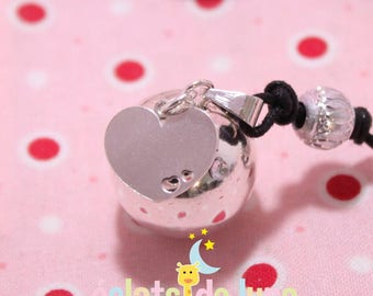 Pregnancy's Bola Bulan bola Xylophone with 925 sterling silver heart charm