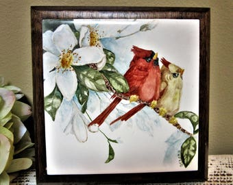 Wall Decor Trivet Kitchen Red Birds Cardinal Hand Painted Hanging blm