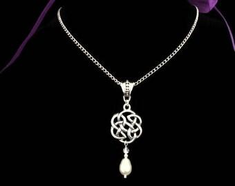 Outlander Inspired, Celtic Necklace with Swarovski Crystal & Crystal Pearl.