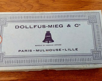 A French vintage box of 100% cotton threads by Dollus-Mieg & Co