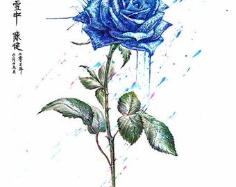 a blue rose in snow - mounted original painting (SOLD to John Lloyd )