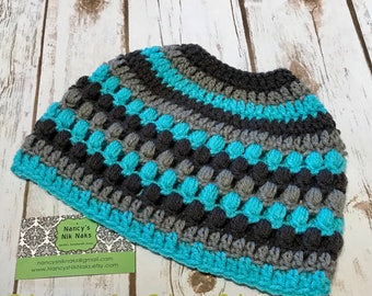 Messy Bun Beanie•Teal and Gray•Turquoise