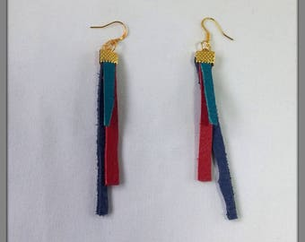 Upcycled jewellery, Recycled leather earrings, Gold plated earrings, Leather drop earrings, Leather dangle earrings.