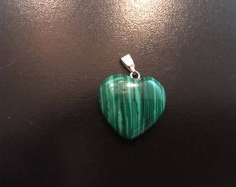 Carved Malachite Heart Pendant