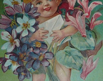 ON SALE till 7/28 Little Cherub Carrying Violets, Cyclamen and a Birthday Card Antique Birthday Postcard