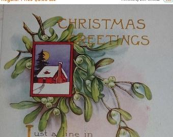 ON SALE Snowy House Scene With Mistletoe Vintage Whitnsy Made Postcard
