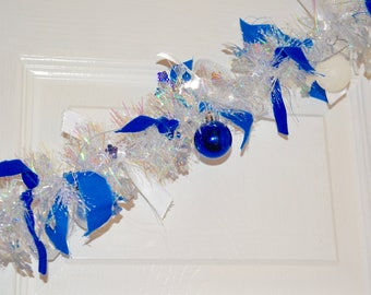 Blue and White Christmas Garland with Ornaments
