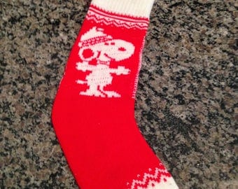 Red Knit Snoopy Stocking with Tassel
