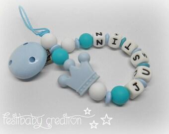 Attache tétine personnalisée tout en silicone ~ modèle prince, cadeau de naissance, perles renard silicone
