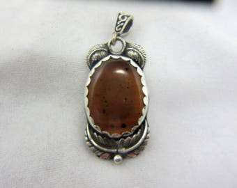 Montana Agate Sterling Silver Necklace Pendant, Montana Agate Cabochon, Natural Agate, Orange Agate, Black Dendrites, Agate Jewelry #251